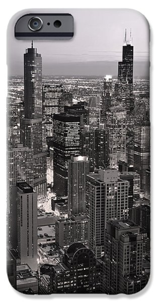 Chicago Loop Sundown B and W iPhone Case by Steve Gadomski