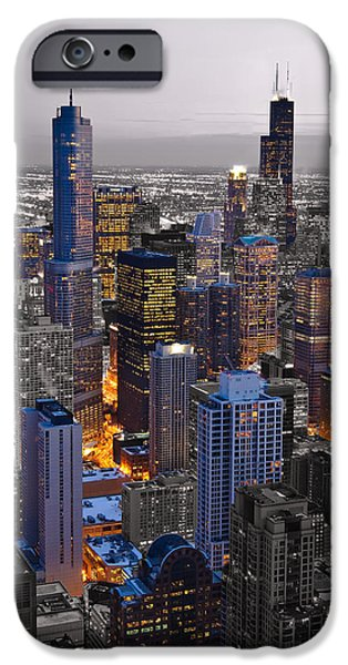 Chicago Loop Sundown BW Color Blend iPhone Case by Steve Gadomski