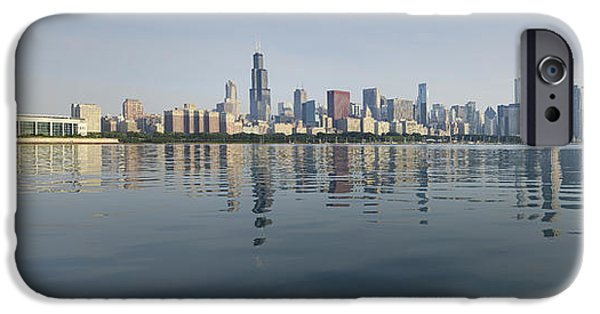 Morning iPhone Cases - Chicago Morning Panorama iPhone Case by Donald Schwartz
