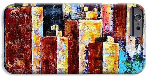 Blue Abstracts iPhone Cases - Chicago My Kind of Town iPhone Case by Carole Sluski