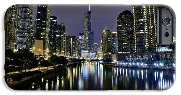 Sears Tower iPhone Cases - Chicago Night Lights iPhone Case by Frozen in Time Fine Art Photography