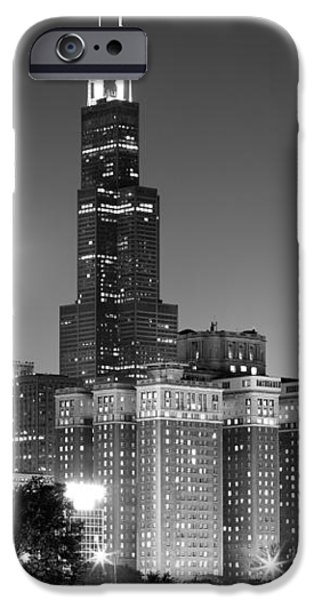 Chicago Night Skyline in Black and White iPhone Case by Paul Velgos
