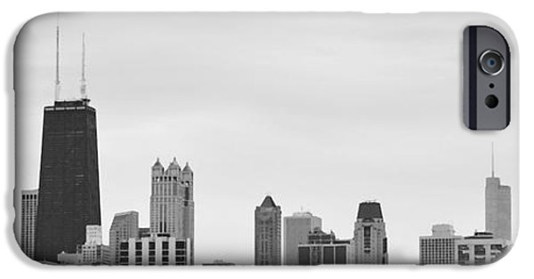 Sears Tower iPhone Cases - Chicago Panorama B n W iPhone Case by Richard Andrews