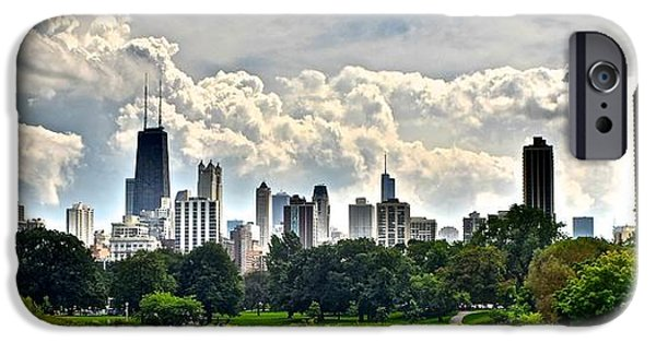 Wrigley iPhone Cases - Chicago Panorama over Lincoln Park iPhone Case by Frozen in Time Fine Art Photography