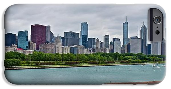 Chicago Cubs iPhone Cases - Chicago Panoramic Along Lake Michigan iPhone Case by Frozen in Time Fine Art Photography