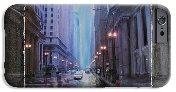 Buildings Mixed Media iPhone Cases - Chicago Rainy Street expanded iPhone Case by Anita Burgermeister