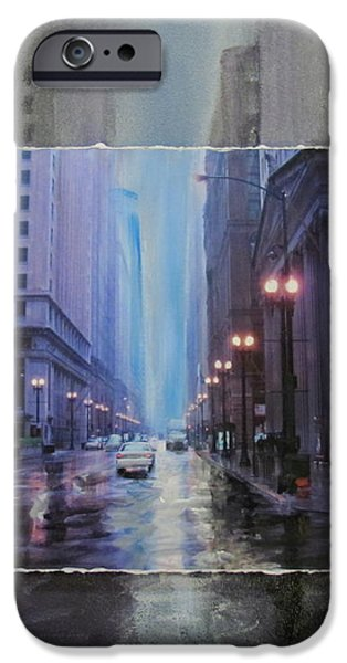 Chicago Rainy Street expanded iPhone Case by Anita Burgermeister
