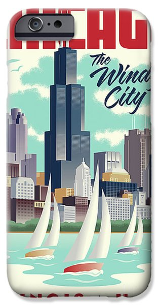 Windy City iPhone Cases - Chicago Retro Travel Poster iPhone Case by Jim Zahniser