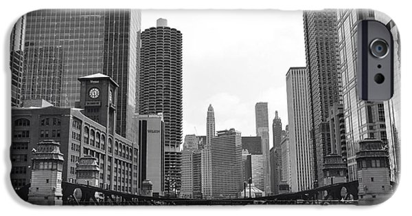 Sears Tower iPhone Cases - Chicago River black and white iPhone Case by Michael Paskvan