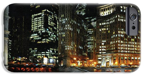 Michigan Paintings iPhone Cases - Chicago River Crossing iPhone Case by Jeff Kolker