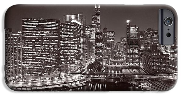 Sears Tower iPhone Cases - Chicago River Panorama B W iPhone Case by Steve Gadomski