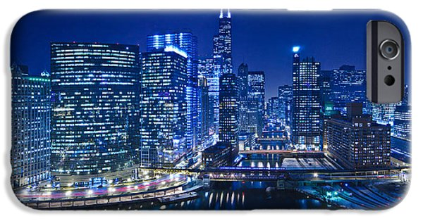Willis Tower iPhone Cases - Chicago River Panorama iPhone Case by Steve Gadomski