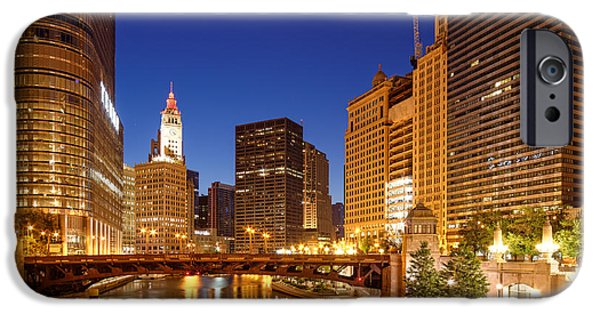 Wrigley iPhone Cases - Chicago River Trump Tower and Wrigley Building at Dawn - Chicago Illinois iPhone Case by Silvio Ligutti