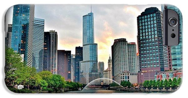 Chicago Cubs iPhone Cases - Chicago River View at Dusk iPhone Case by Frozen in Time Fine Art Photography