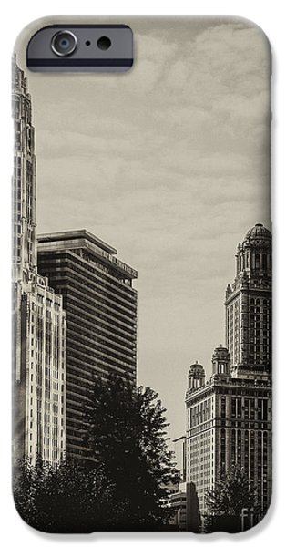 Tree Art Print iPhone Cases - Chicago Riverside iPhone Case by Andrew Paranavitana