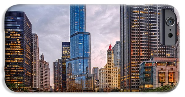 Wrigley iPhone Cases - Chicago Riverwalk Equitable Wrigley Building and Trump International Tower and Hotel at Sunset  iPhone Case by Silvio Ligutti