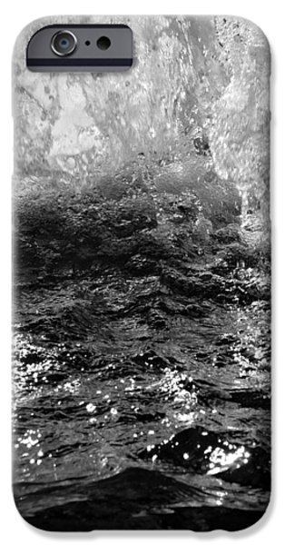 Abstract Digital iPhone Cases - Chicago Riverwalk Fountain - Detail B n W iPhone Case by Richard Andrews