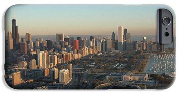 Soldier Field iPhone Cases - Chicago Skyline iPhone Case by Al Junco