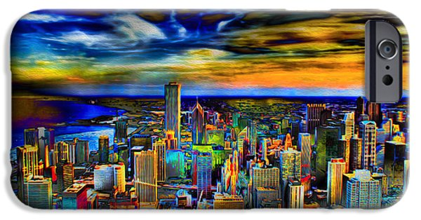 Chicago iPhone Cases - Chicago Skyline Art at Sunset iPhone Case by Ron Fleishman