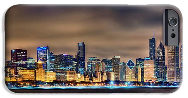 City Scene iPhone Cases - Chicago Skyline at NIGHT Panorama Color 1 to 3 Ratio iPhone Case by Jon Holiday