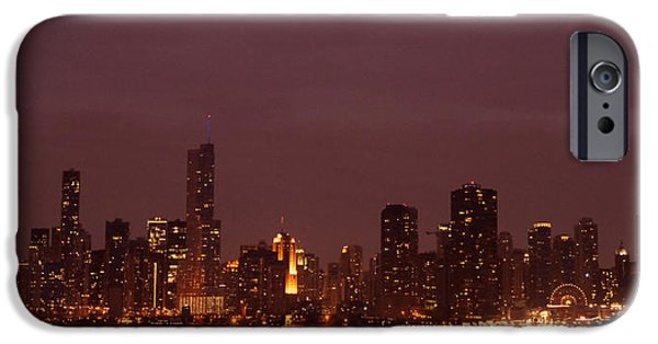 Facade iPhone Cases - Chicago Skyline At Night iPhone Case by Sheela Ajith
