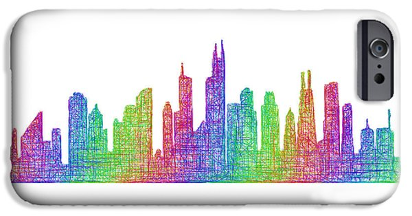 City Scape Drawings iPhone Cases - Chicago skyline iPhone Case by David Zydd