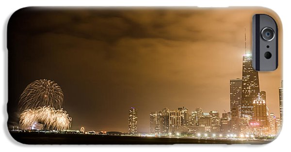 4th July iPhone Cases - Chicago Skyline Fireworks Finale iPhone Case by Anthony Doudt