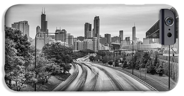Sears Tower iPhone Cases - Chicago Skyline in Black and White from the McCormick Place Pedestrian Bridge over Lake Shore Drive  iPhone Case by Silvio Ligutti