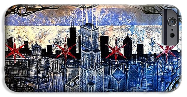 Chicago Paintings iPhone Cases - Chicago skyline iPhone Case by Joseph Cullotta