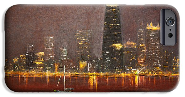 Sailboats iPhone Cases - Chicago Skyline iPhone Case by Ken Figurski