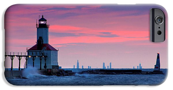 Indiana Springs iPhone Cases - Chicago Skyline Lighthouse iPhone Case by Jackie Novak