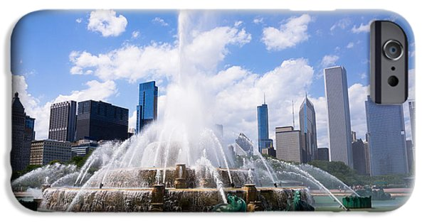 Chicago iPhone Cases - Chicago Skyline with Buckingham Fountain iPhone Case by Paul Velgos