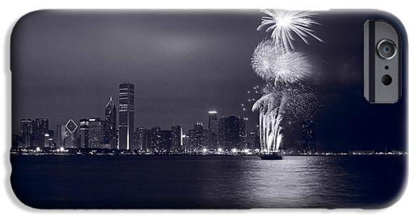 Fireworks iPhone Cases - Chicago Skyline With Fireworks iPhone Case by Steve Gadomski