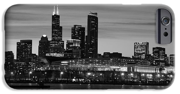 Soldier Field iPhone Cases - Chicago Soldier Field and Skyline at dusk iPhone Case by Michael Paskvan