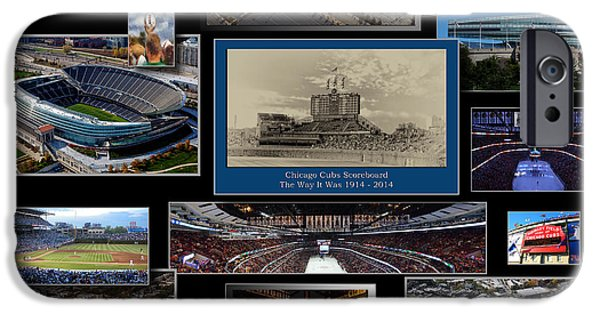 Wrigley Field iPhone Cases - Chicago Sports Collage 03 Blk iPhone Case by Thomas Woolworth
