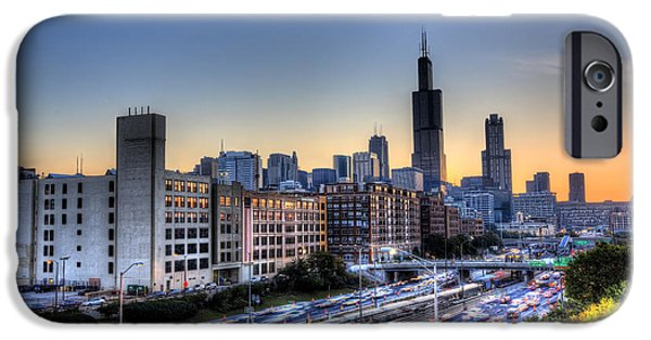 Willis Tower iPhone Cases - Chicago Sunrise Rush Hour iPhone Case by Shawn Everhart