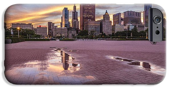 Chicago iPhone Cases - Chicago Sunset Cityscape iPhone Case by Lindley Johnson