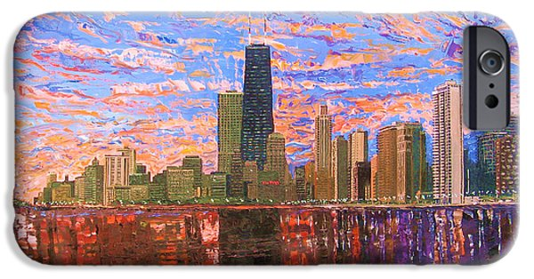 Chicago Paintings iPhone Cases - Chicago Skyline at Sunset iPhone Case by Mike Rabe