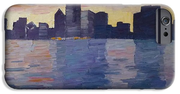 Chicago Paintings iPhone Cases - Chicago Sunset iPhone Case by Susan Tormoen