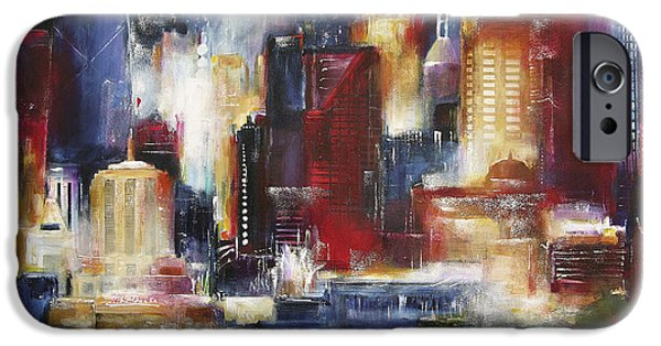 Chicago Paintings iPhone Cases - Chicago - The Oak Beach Skyline iPhone Case by Kathleen Patrick