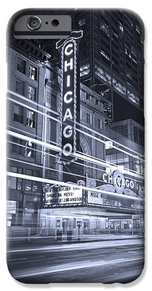 States iPhone Cases - Chicago Theater Marquee B and W iPhone Case by Steve Gadomski