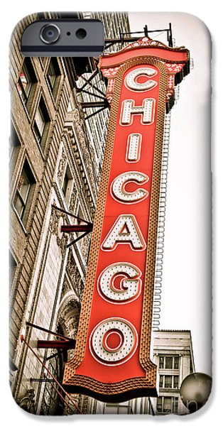 Sign iPhone Cases - Chicago Theater Sign Marquee iPhone Case by Paul Velgos