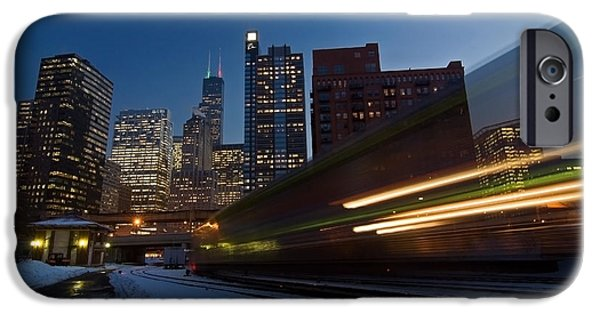 Cities Photographs iPhone Cases - Chicago Train Blur iPhone Case by Sven Brogren