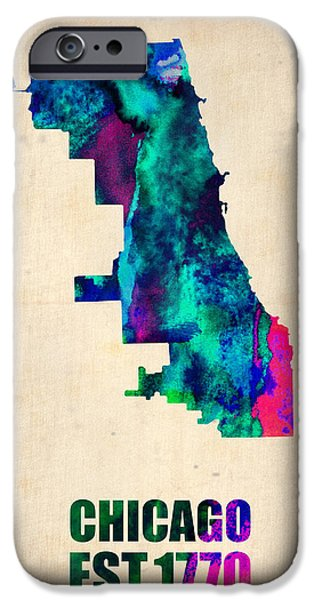 World Map Poster Digital Art iPhone Cases - Chicago Watercolor Map iPhone Case by Naxart Studio