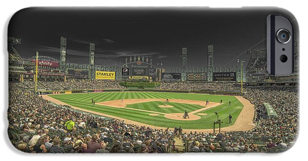 Baseball Stadiums iPhone Cases - Chicago White Sox US Cellular Field Creative 2 iPhone Case by David Haskett