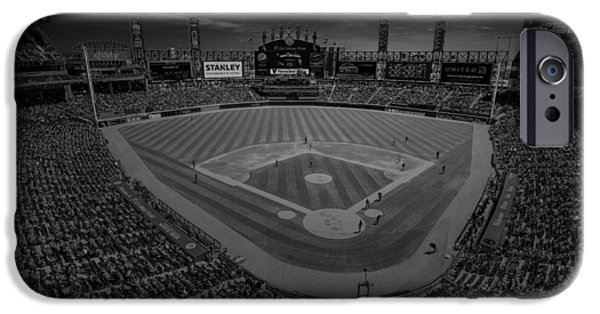 Baseball Stadiums iPhone Cases - Chicago White Sox US Cellular Field Creative 3 Black and White iPhone Case by David Haskett