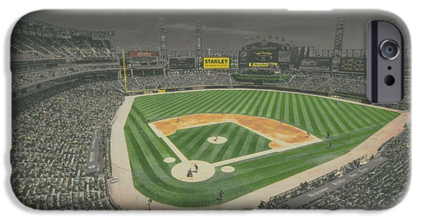 Baseball Stadiums iPhone Cases - Chicago White Sox US Cellular Field Creative 4 Black and White iPhone Case by David Haskett