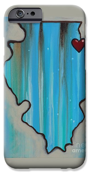 Chicago Paintings iPhone Cases - Chicago with love iPhone Case by Carla Bank
