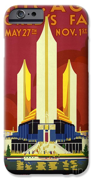 Chicago Paintings iPhone Cases - Chicago worlds fair iPhone Case by Celestial Images
