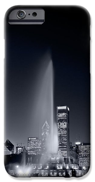 Lakefront iPhone Cases - Chicagos Buckingham Fountain Bl and W Portrait iPhone Case by Steve Gadomski